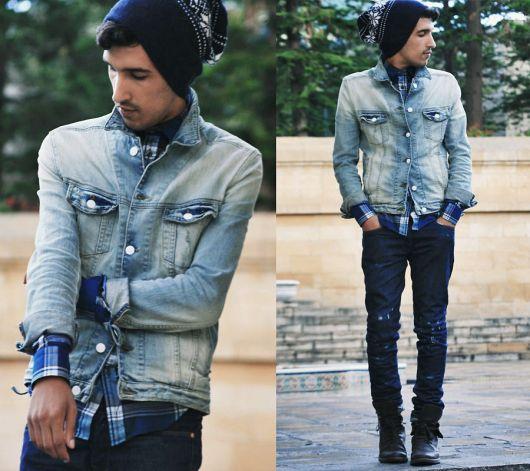 jaqueta jeans masculina clara
