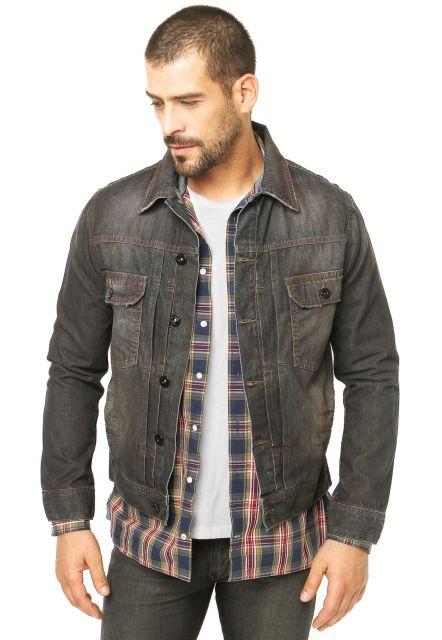 jaqueta jeans masculina preta