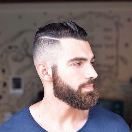 listra no cabelo com barba