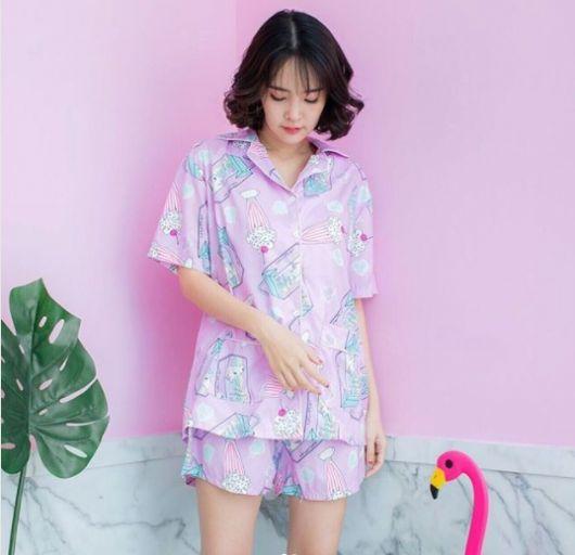 pijama com camisa de botão