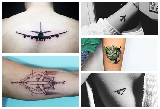 Montagem com cinco fotos diferentes de tatuagem de avião