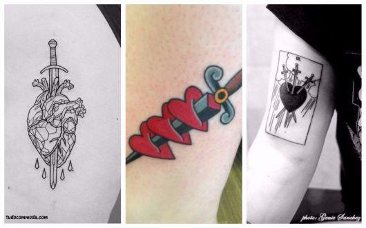 ideias tatuagens coração com espada