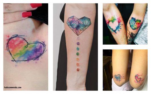 tatuagem coração aquarelado