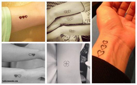 tatuagem com vários corações