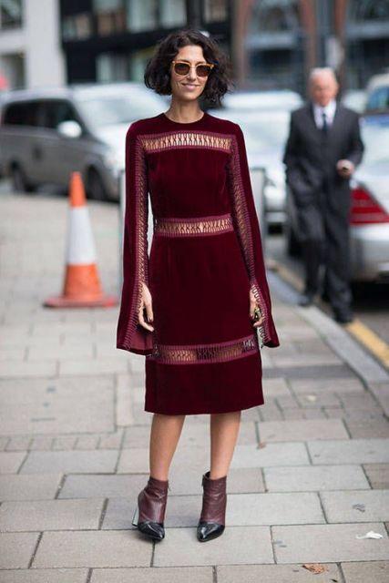 vestido vinho com manga longa