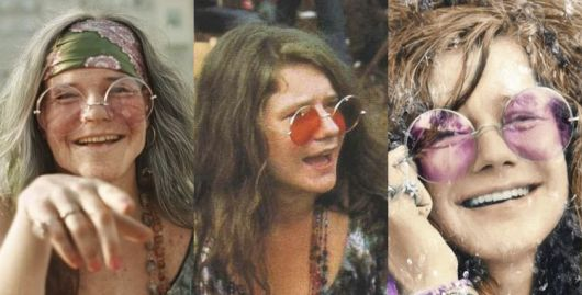 Janis Joplin Canntora anos 60 com óculos de sol de lentes grandes.