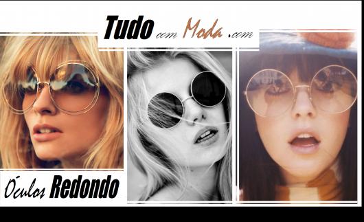 Ilustração capa do post com três modelos de óculos de sol redondos.