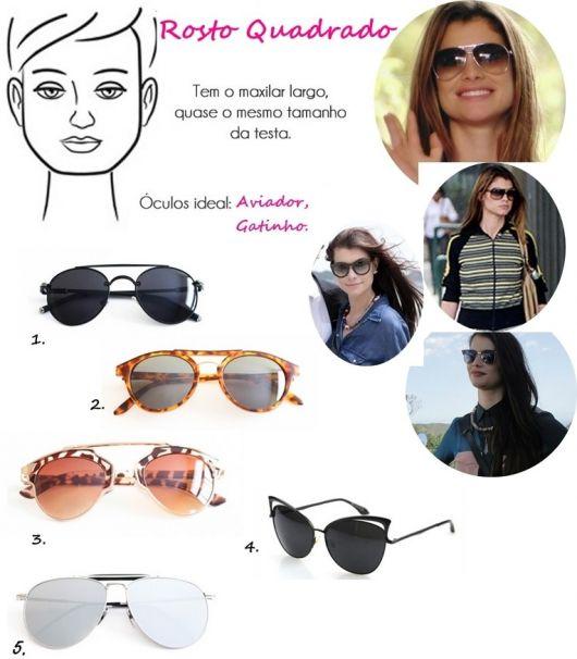 Ilustração com modelos de óculos para tipo de rosto quadrado.