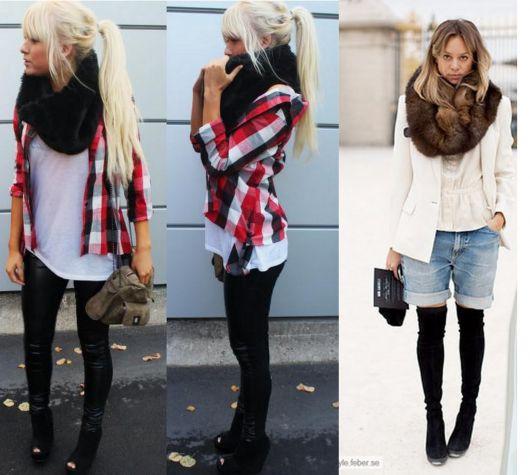 Montagem com duas modelos, uma com look de camisa xadrez e calça e cachecol , a outra de botas cano longo bermuda jeans e cachecol.