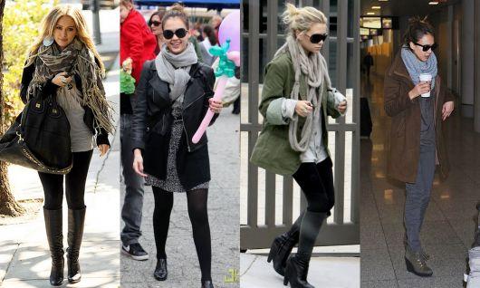 Montagem com modelos de calça jeans preta, casaco longo e cachecol cinza feminino.
