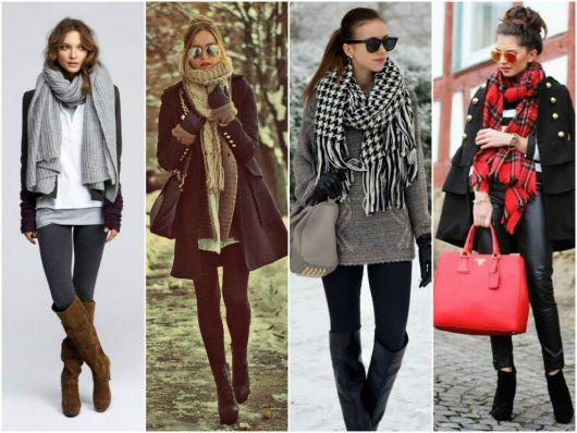 Modelos usam casacos pesados, calça e cachecol de lã.