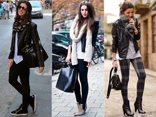 Modelos vestem legging, jaqueta de couro e cachecol.