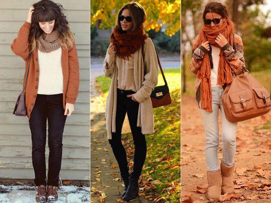 Modelos vestem calça, camisetinha, cardigã e cachecol feminino.
