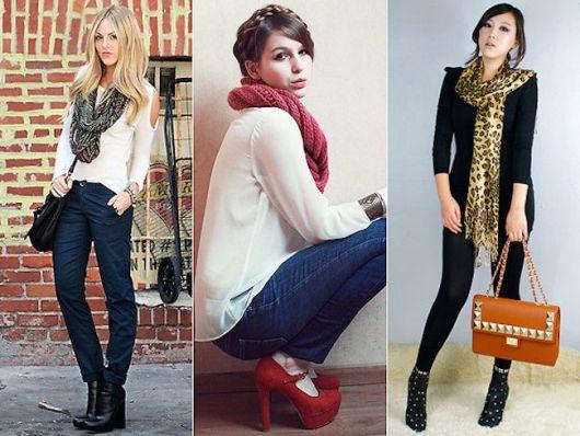 Modelos vestem roupas meia estação com cachecol coloridos e sapato de salto alto.
