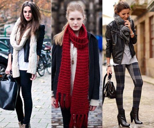 Modelos usam cachecol de trico e roupas de frio.