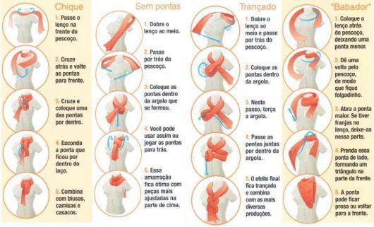 Ilustração que mostra quatro maneiras de se amarrar o cachecol feminino.