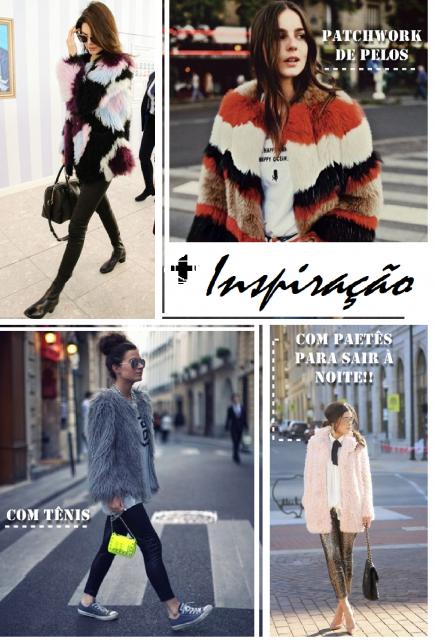 Montagem com modelos vestindo looks com casaco de pelinhos.