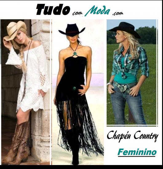 Modelos usam look com chapéu country feminino.