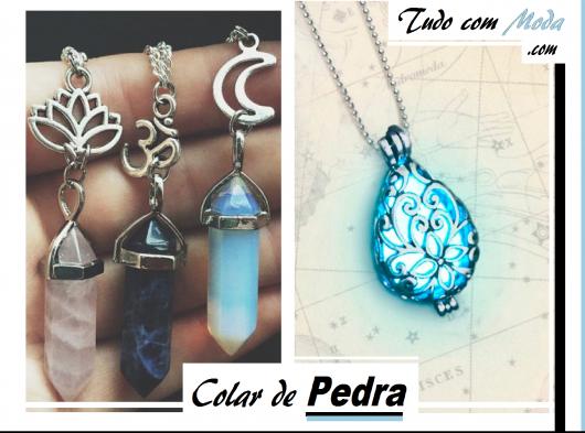 Ilustração capa do post com fotos de colares de pedra na cor azul escuro, claro e transparente.