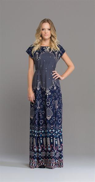 Vestido azul estampado.