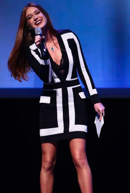 Marina Ruy Barbosa com vestido preto e branco.