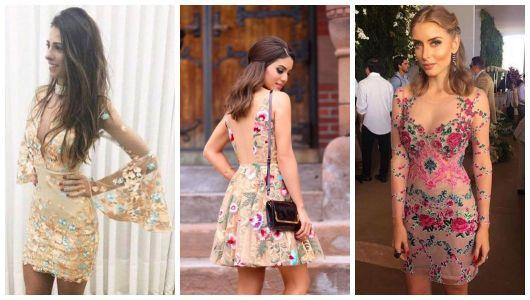 Montagem com três vestidos estampados com renda.