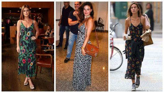 Montagem com famosas com vestido estampado longo.