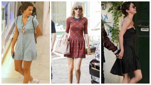 Montagem com três famosas com vestido curto.