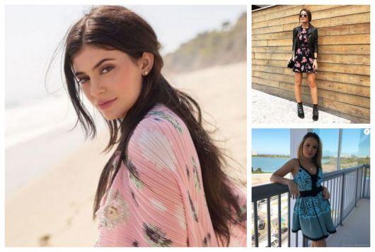 Montagem com três famosas usando vestido estampado.