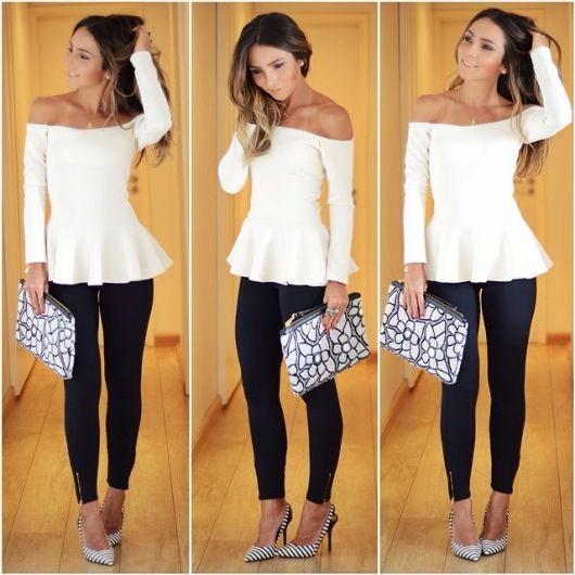 Modelo usa blusa peplum manga longa, calça preta e sapato de salto.