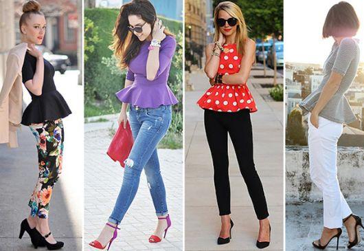 Modelos vestem blusas coloridas e calça justa com sandalias de salto alto.