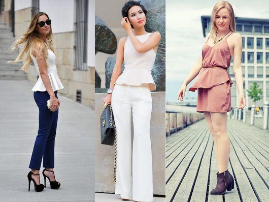 Montagem com modelos de calça e blusa peplum.