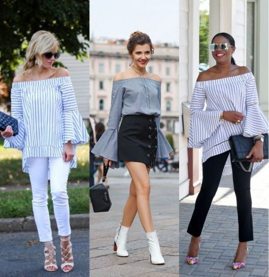 Modelos usam blusa manga longa com babado, calça e salto alto.