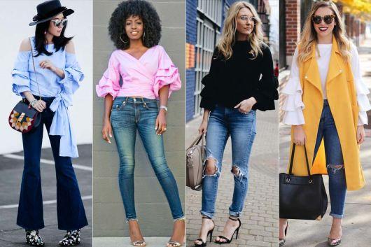 Montagem com modelos vestindo blusa com manga de babados, calça jeans e salto alto.