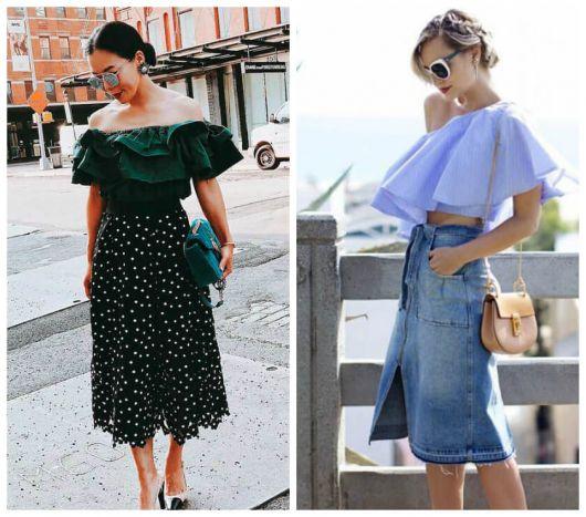 Modelos usam blusa de decote com babado, saia midi e sapato de salto.