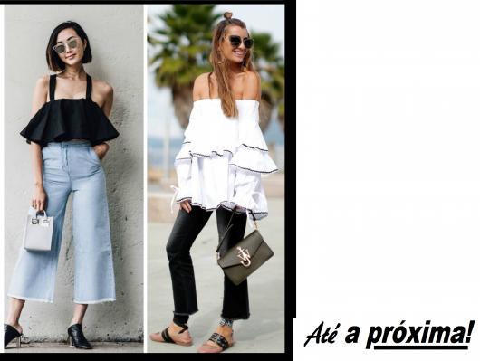 Ilustração final do post com modelos de blusas de babados na cor preta e branca, com looks casuais.