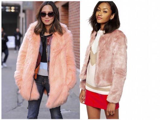 Modelos usam looks casuais com casaco de pelinhos cor de rosa.