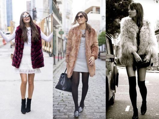 Montagens com modelos de vestido curto e casaco de pelos.