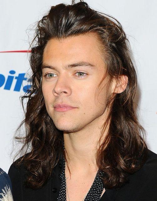 Cantor Harry Styles com o cabelo comprido na altura dos ombros.