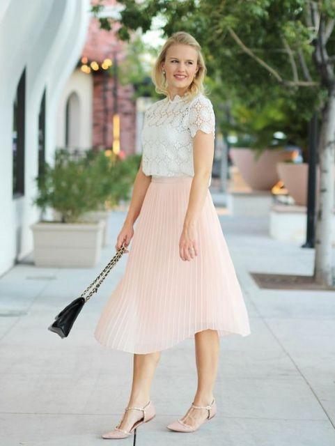 look com saia plissada rosa