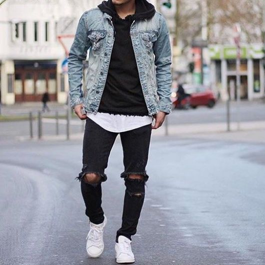 Mens Black Denim Jean Jacket