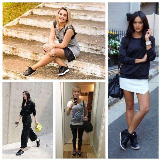 looks com tênis preto feminino