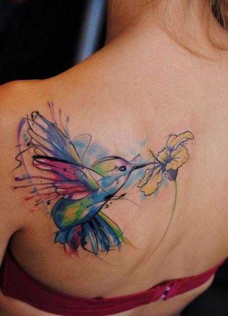 tatuagem aquarela costas