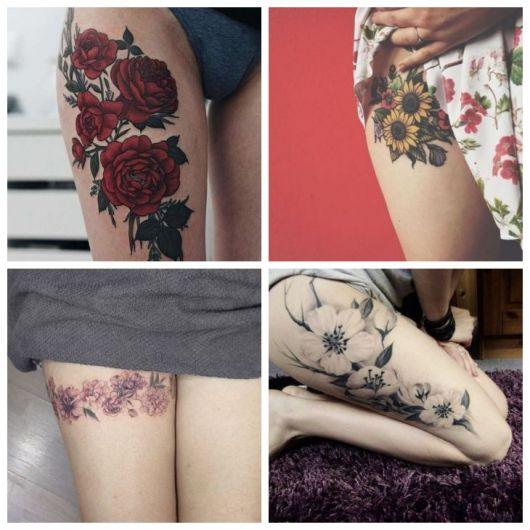 Montagem com quatro tatuagens de flores na coxa.