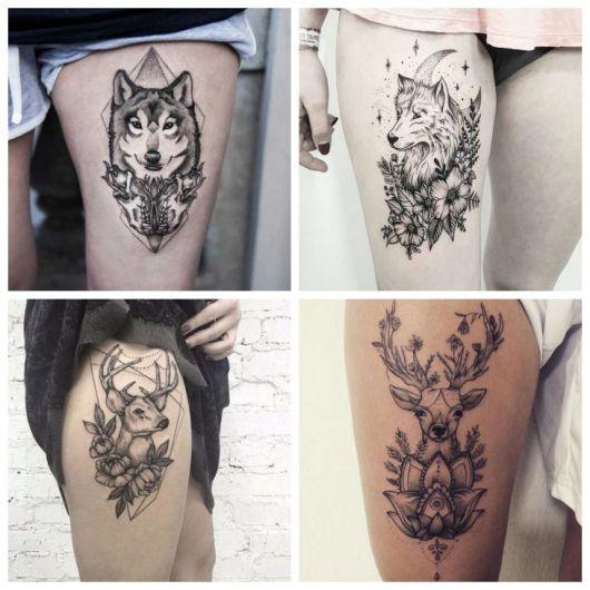 Montagem com quatro fotos de tatuagem feminina na coxa, com animais.