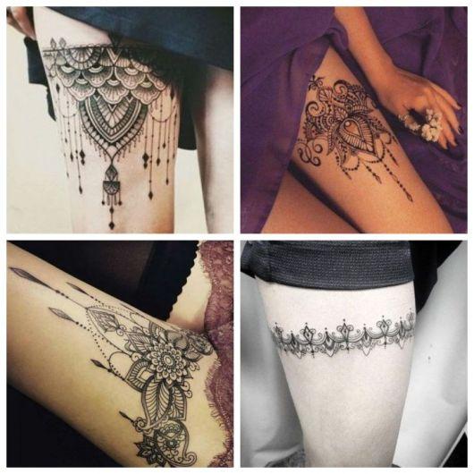 Quatro fotos de tatuagens na coxa.