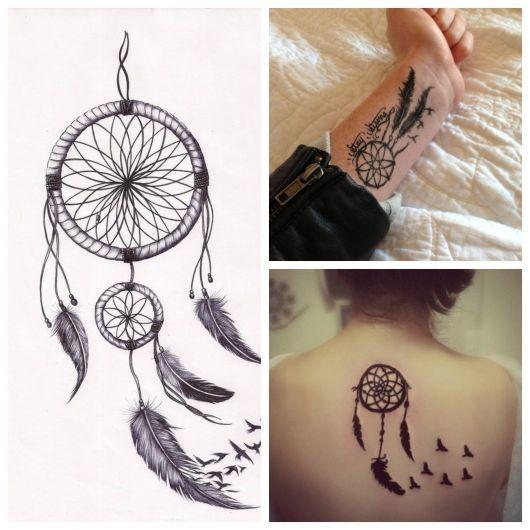 Tatuagem pássaro e filtro dos sonhos.