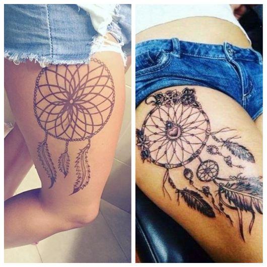 Tatuagem na perna.