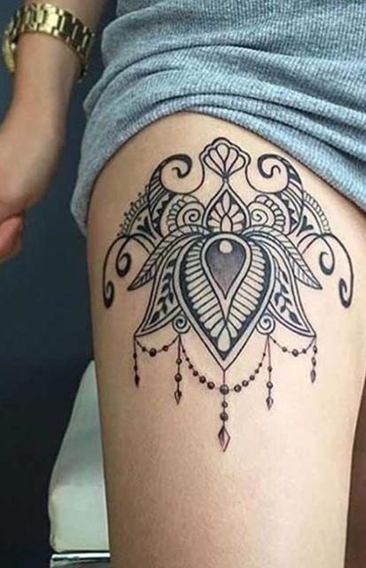 tatuagem de mandala na coxa