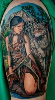 tatuagem índia e lobo